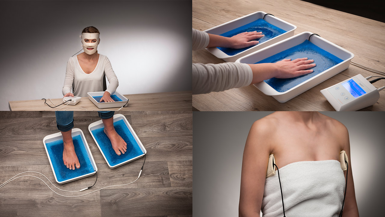 Treatment of sweating face, hands, feet and armpit using Saalio® Iontophoresis machine, Saalmann medical GmbH